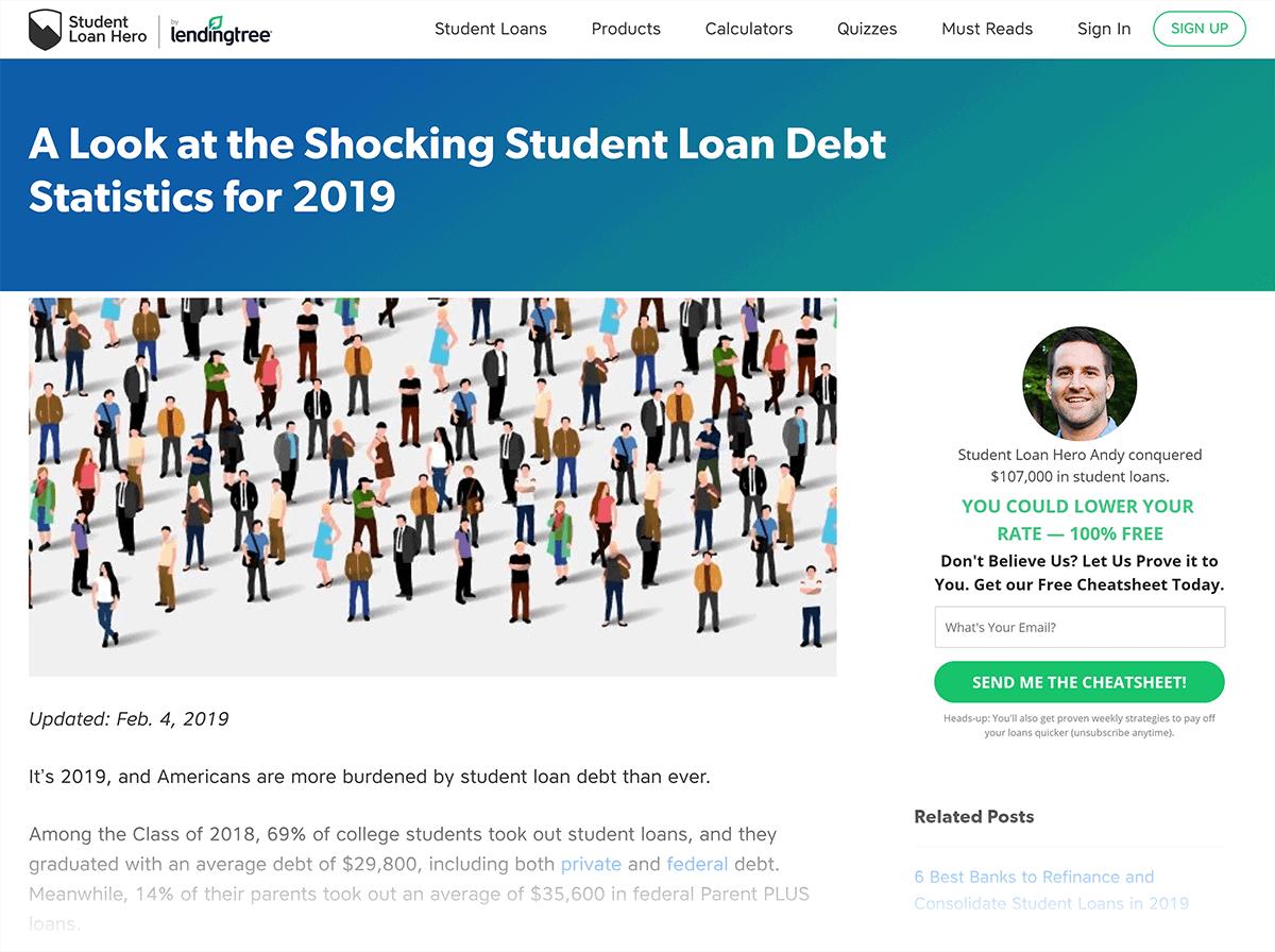 Student Loan Debt Statistics page