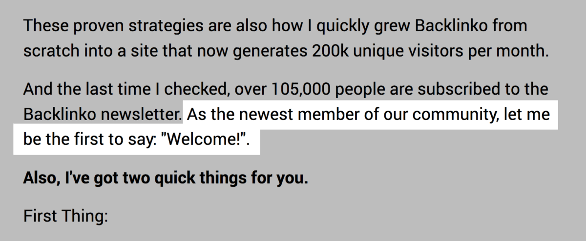 Welcome text in email