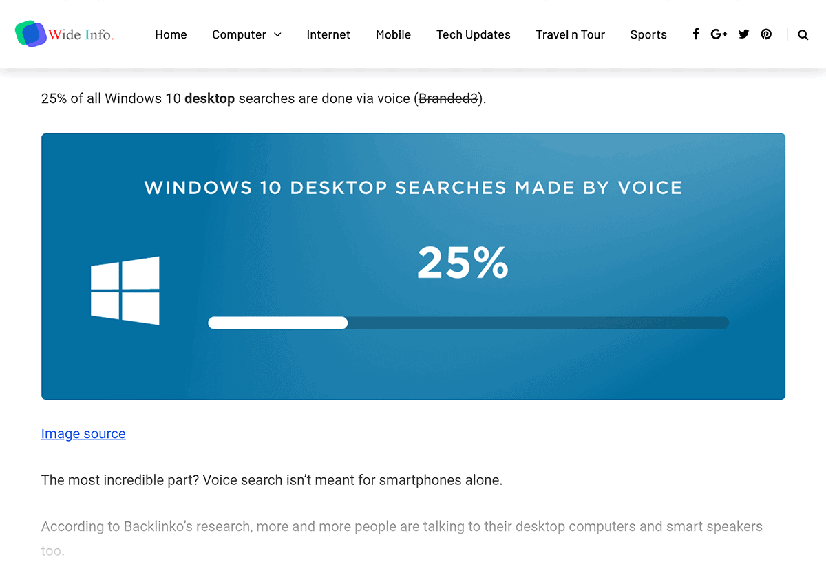 """""""Windows 10 desktop searches"""" visual – Image backlink from WideInfo"""