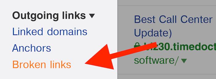 Ahrefs – Outgoing links – Broken links menu