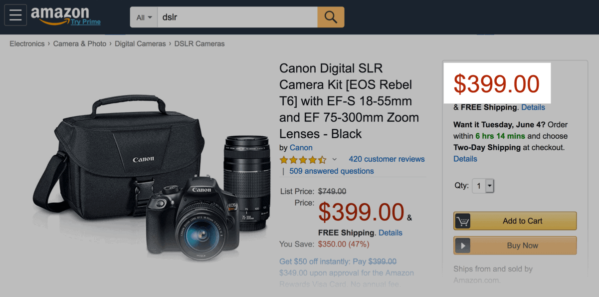 Canon DSLR camera - Price