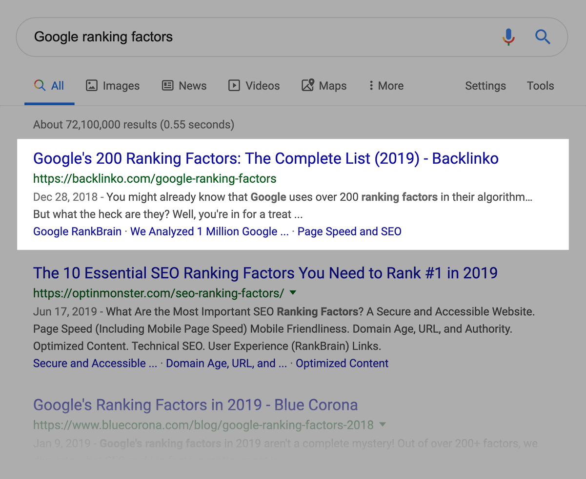 """Google ranking factors"" SERPs"