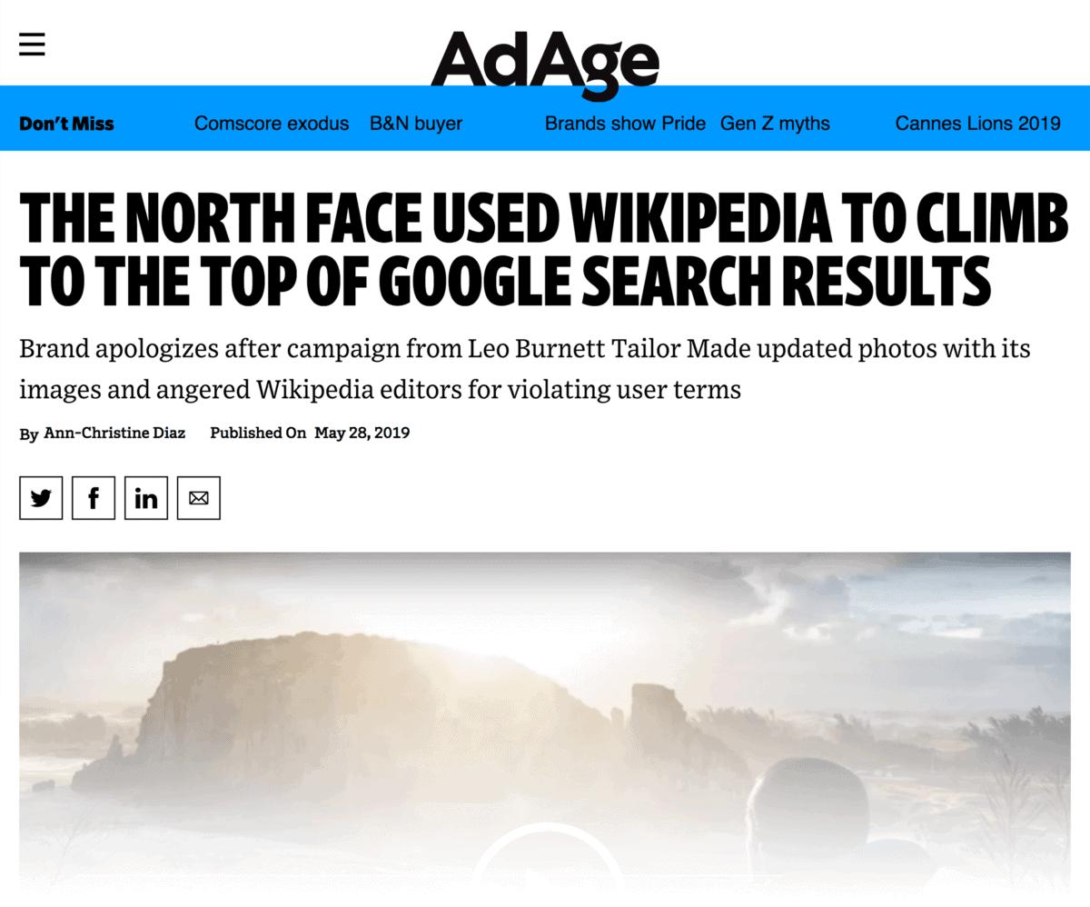 North Face Wikipedia campaign