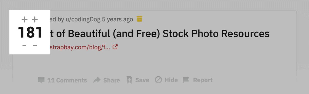 Reddit thread upvotes