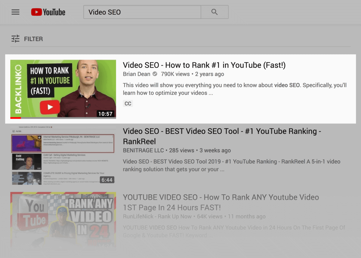 Video SEO – Keyword search results