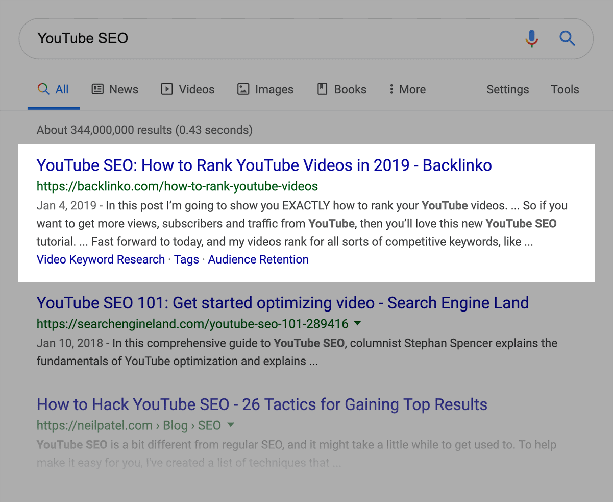 """YouTube SEO"" SERPs"