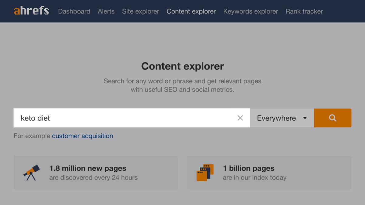 "Ahrefs' Content Explorer – ""keto diet"" search"