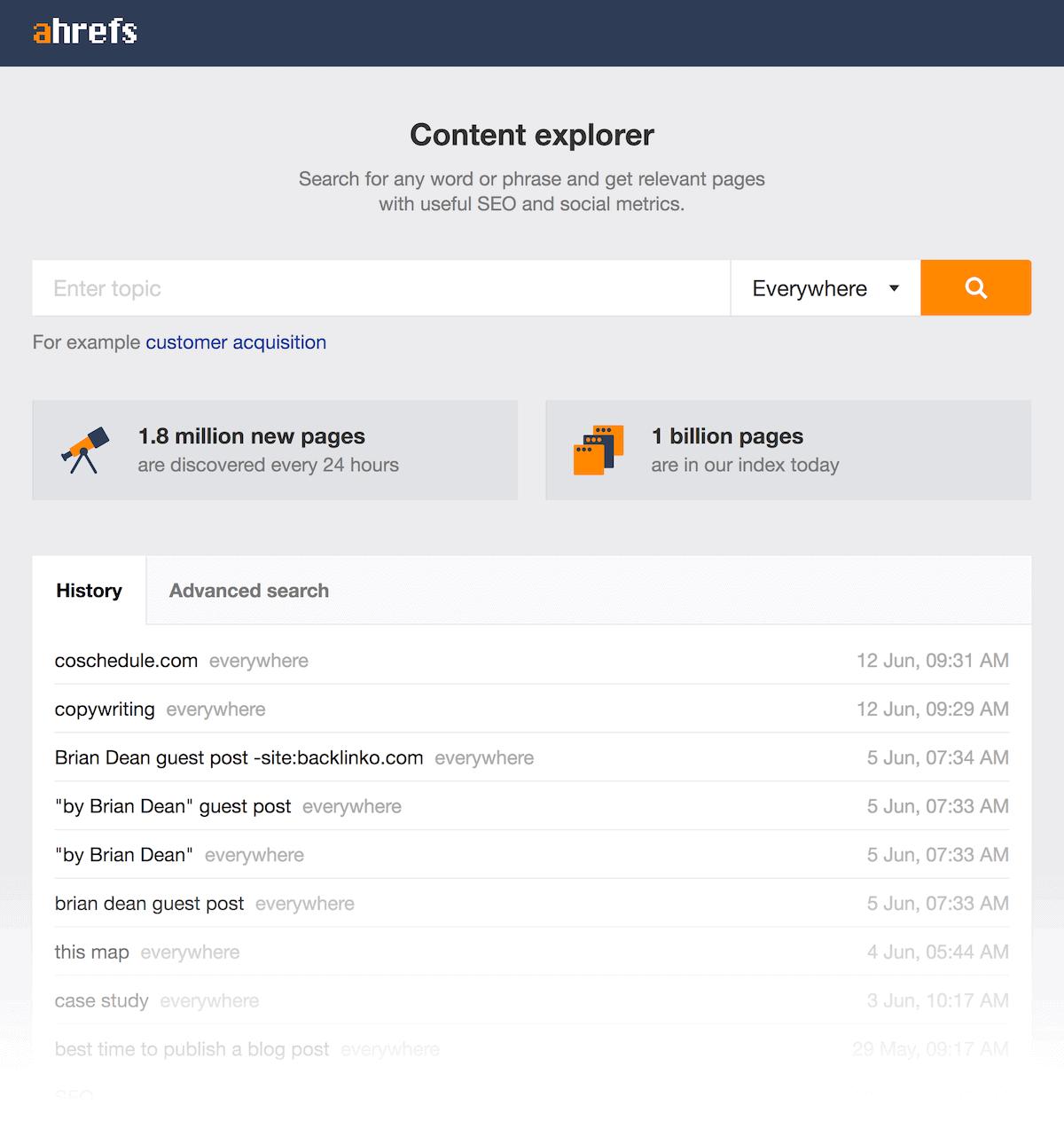 Ahrefs – Content Explorer