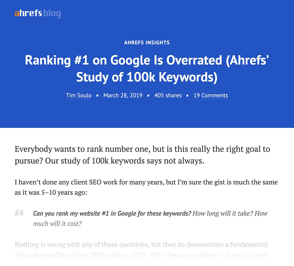 Ahrefs – Study of keywords