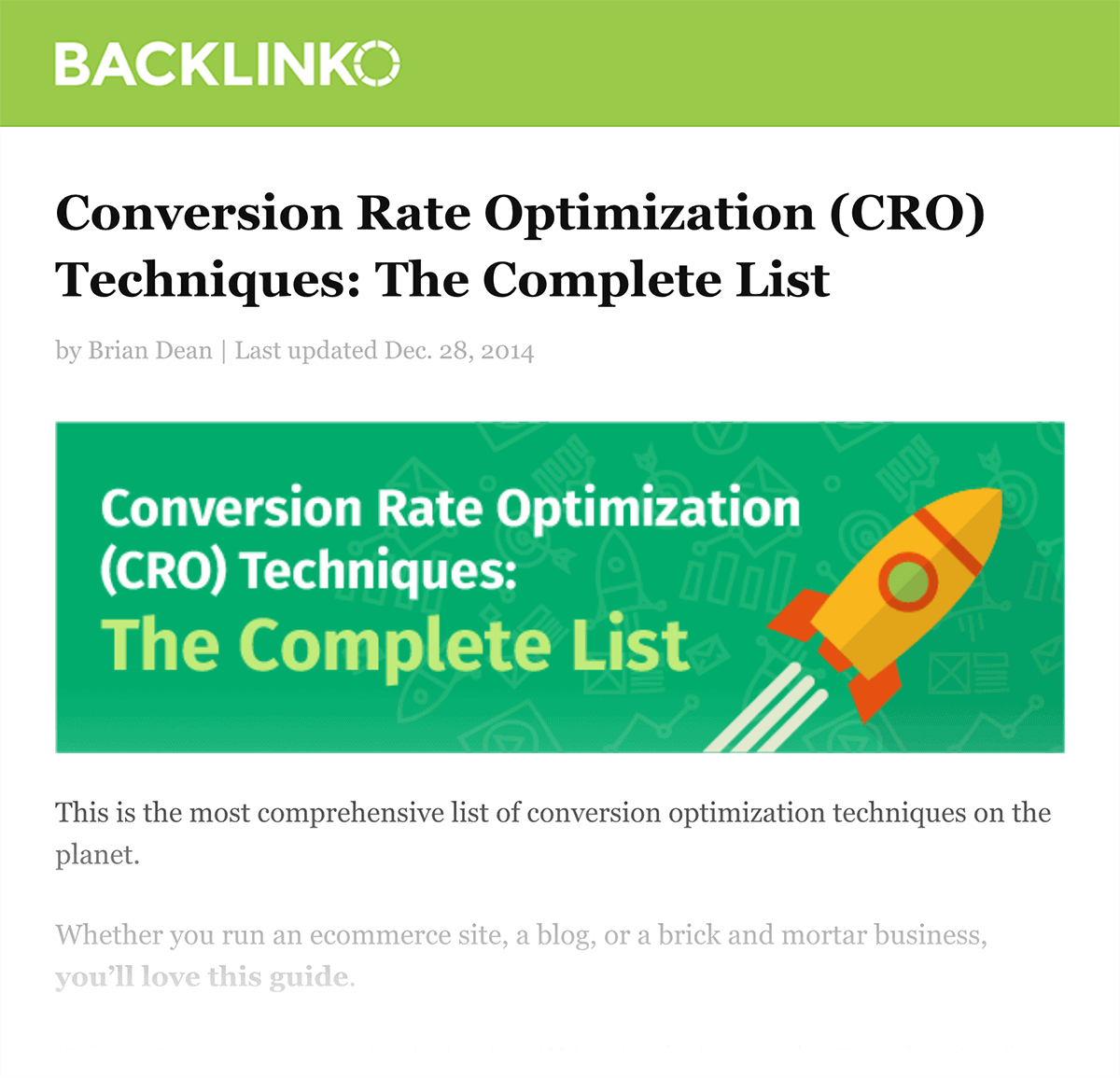 Backlinko – CRO Complete List