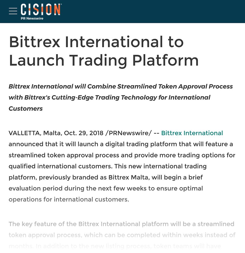 Blockchain trading platform press release