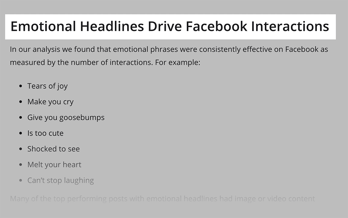 BuzzSumo study found correlation between emotional headlines and engagement
