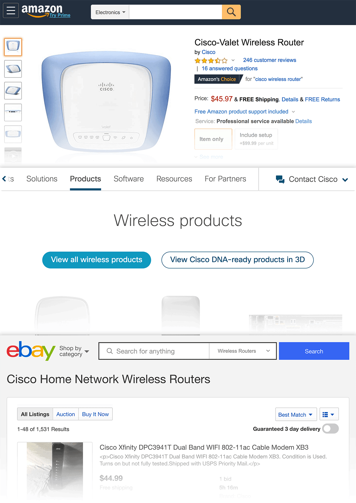 """""""cisco wifi router"""" ecommerce pages"""