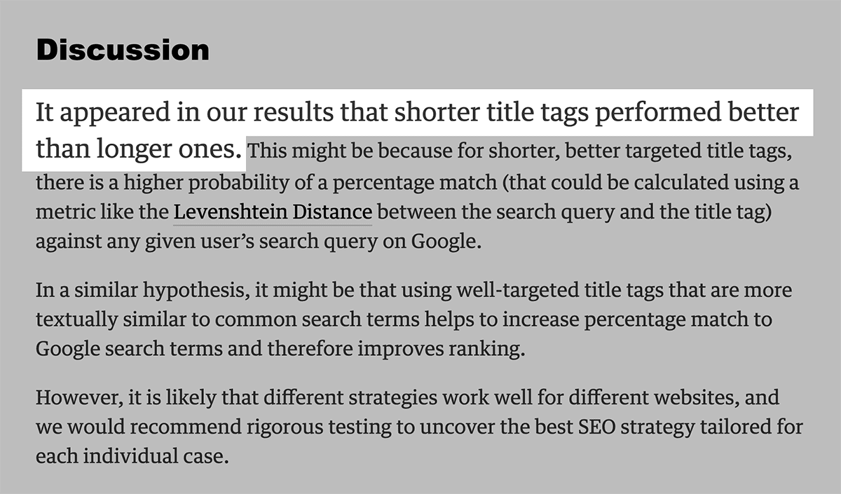 Etsy title tag variation test results showed shorter title tags are better
