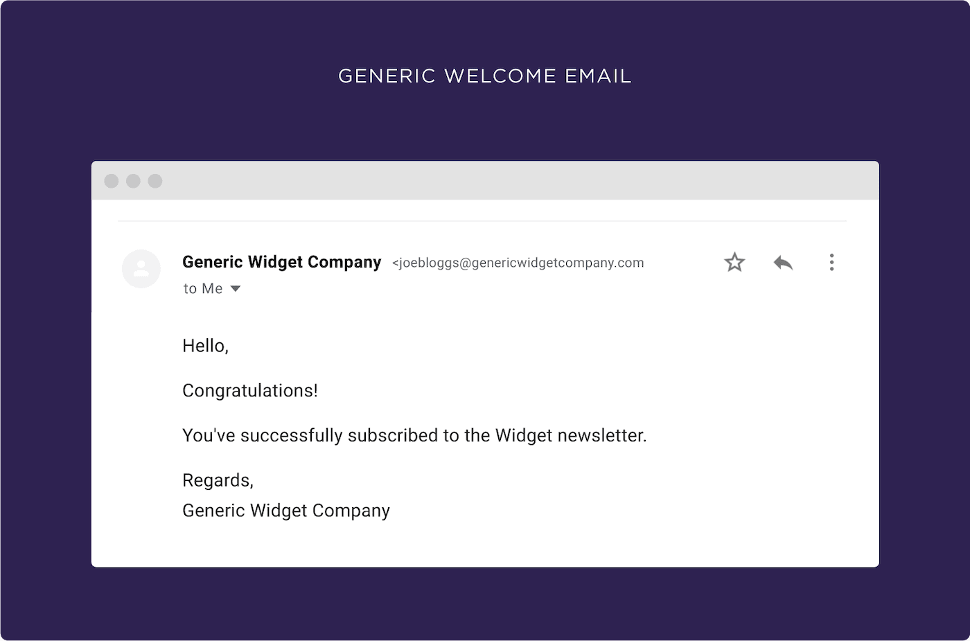 Generic Welcome email