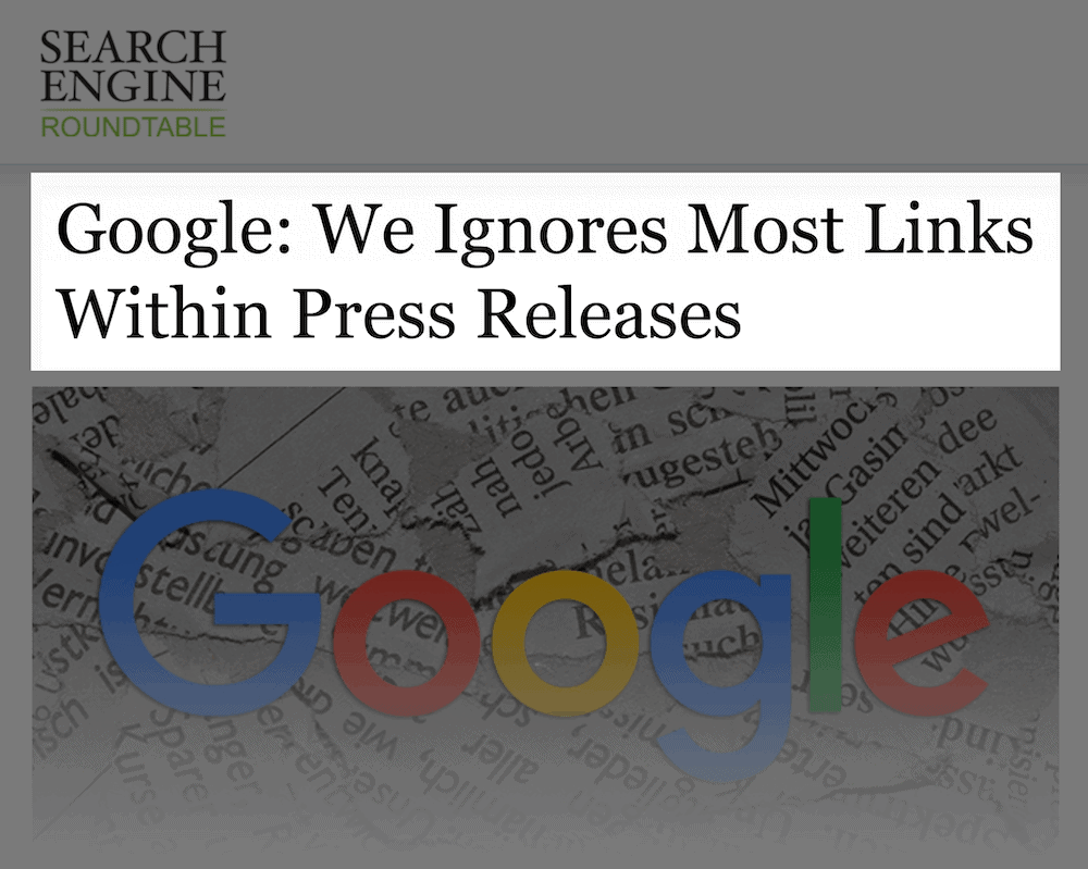 Google ignores links in press release