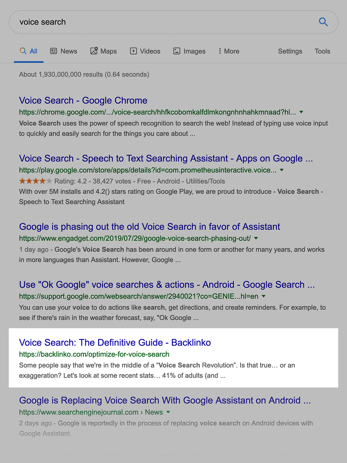 """Google rankings for """"voice search"""""""
