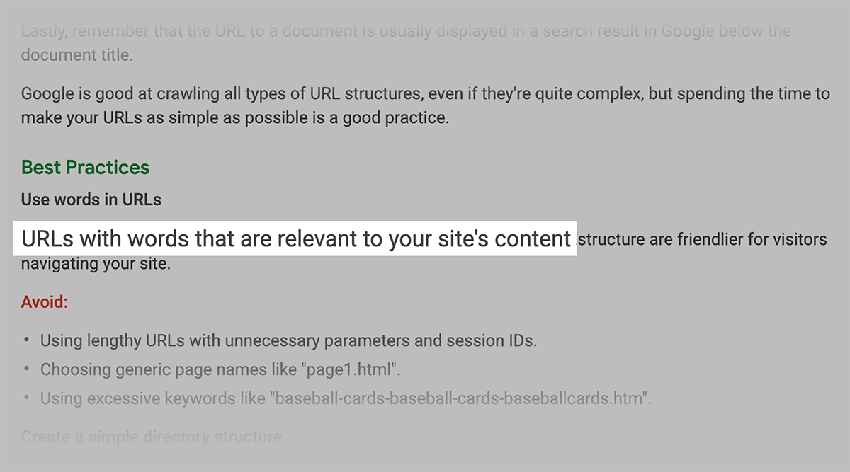 Google recommends using URLs with words relevant to site's content