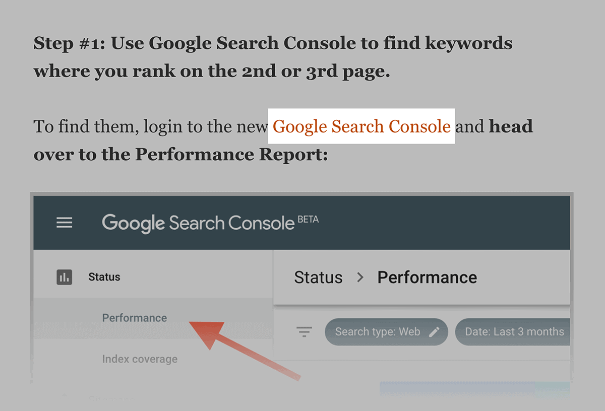 Google Search Console – Internal link