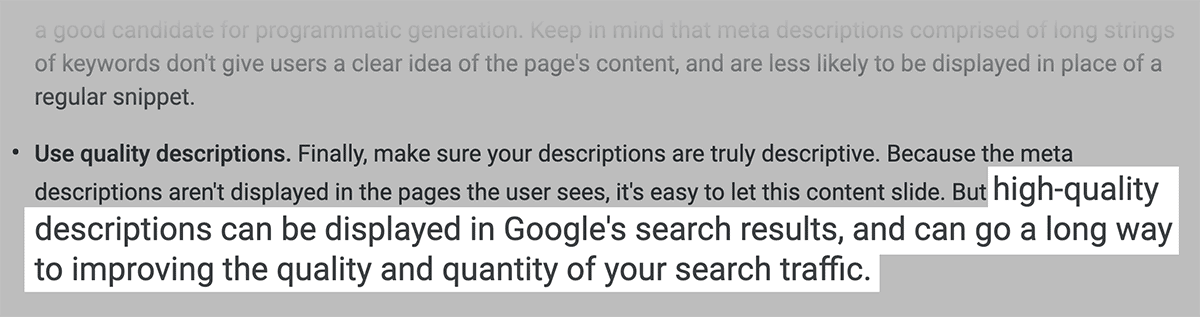 Google suggests well-written descriptions can improve clicks from SERPs