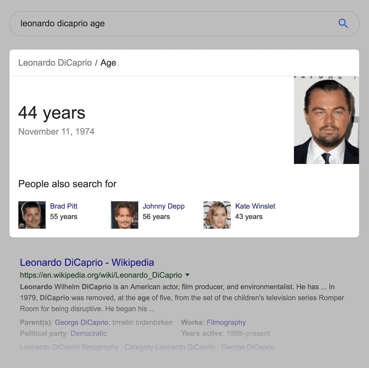 Leonardo DiCaprio age – Google results