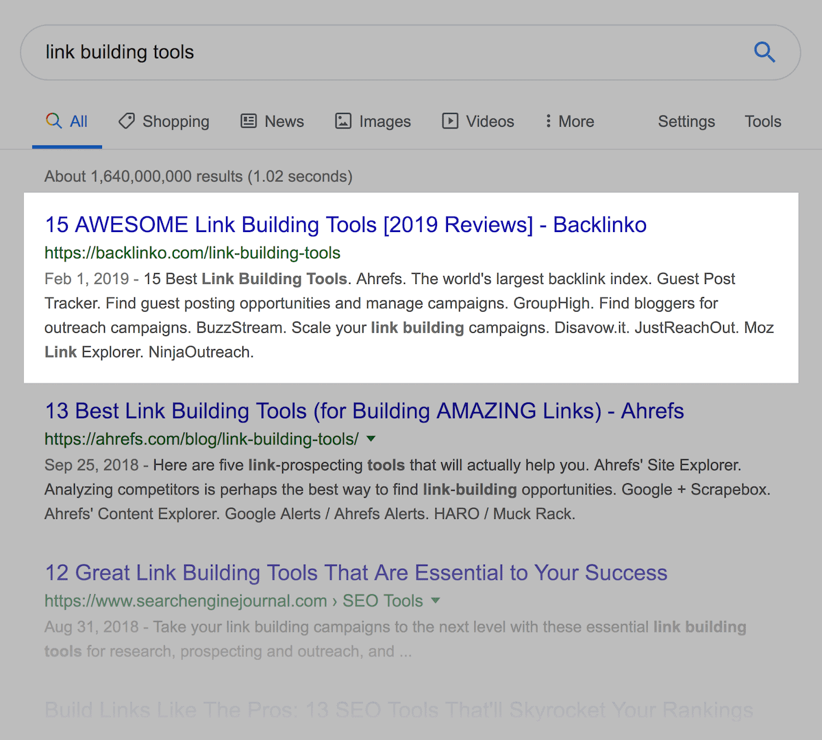 """link building tools"" search results"