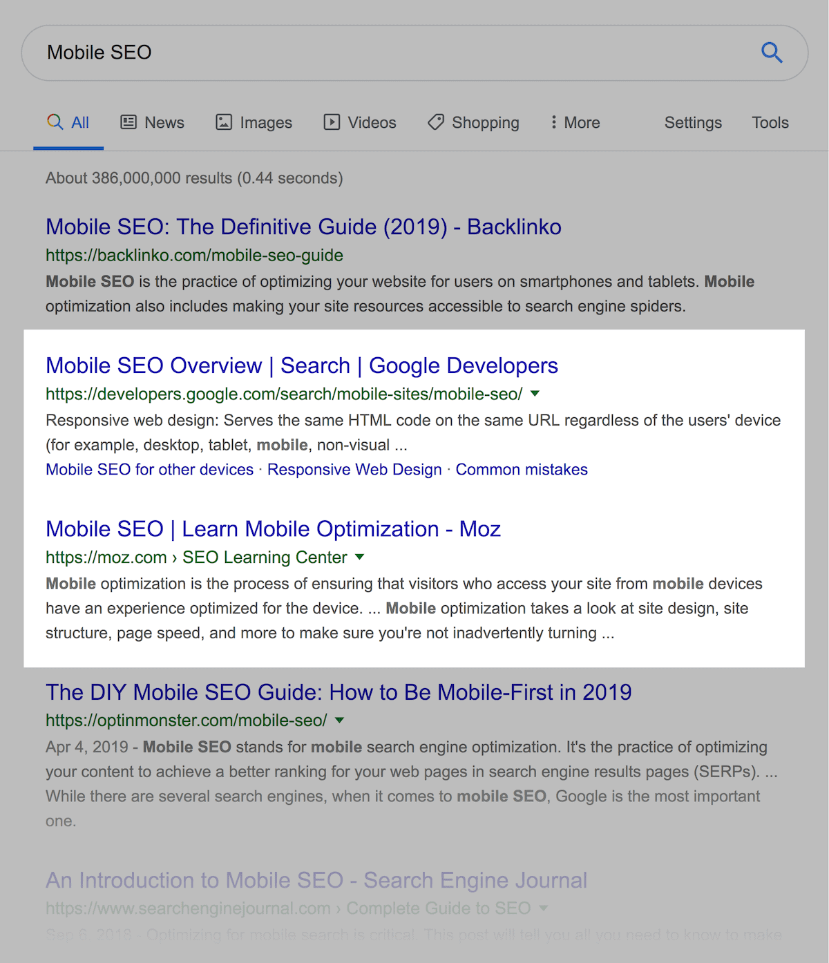 """Mobile SEO"" search results"