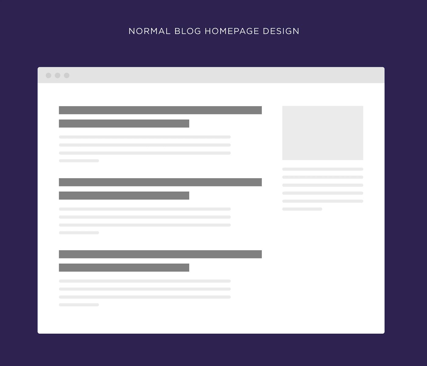 Normal blog homepage design