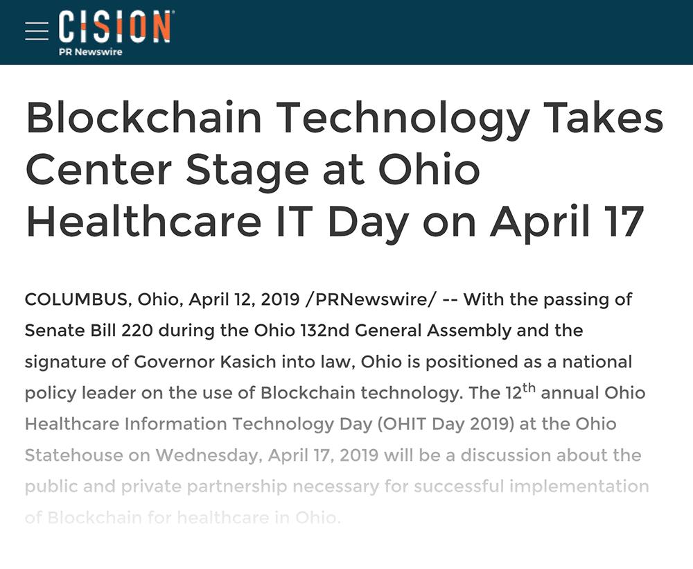 Ohio Healthcare blockchain technology