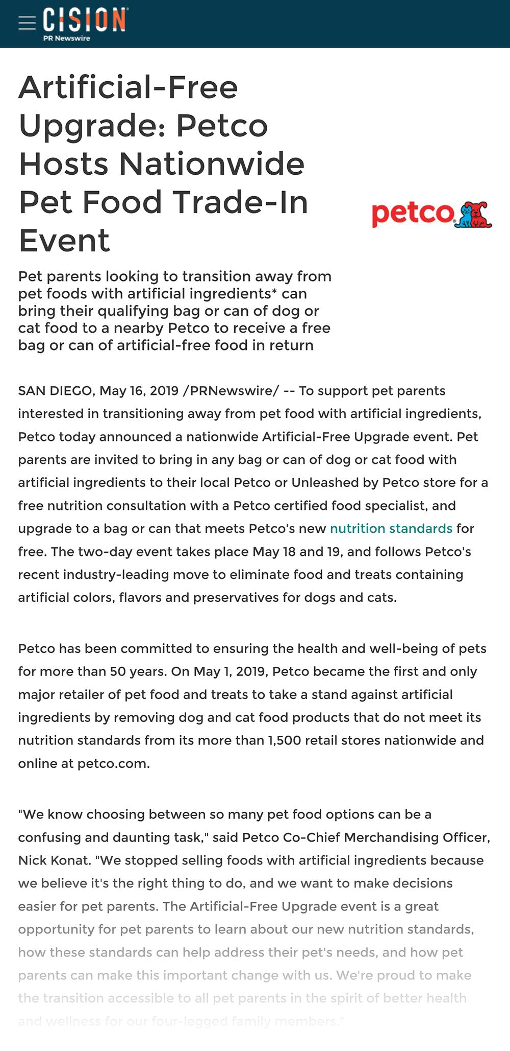 PetCo press release example