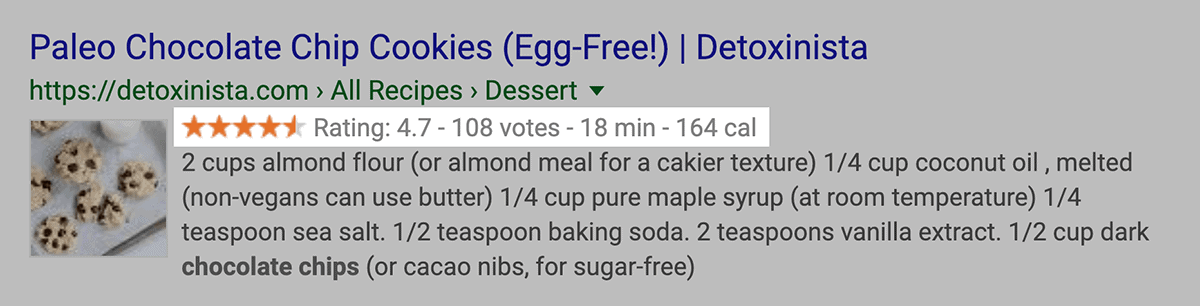 """recipes"" rich snippet in SERPs"