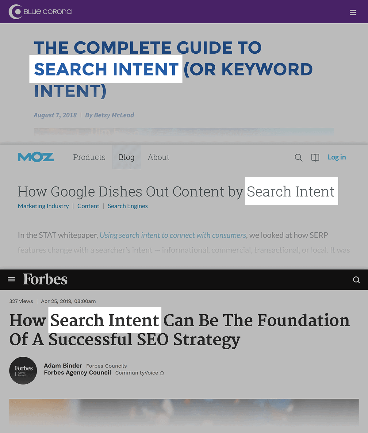 Search intent collage