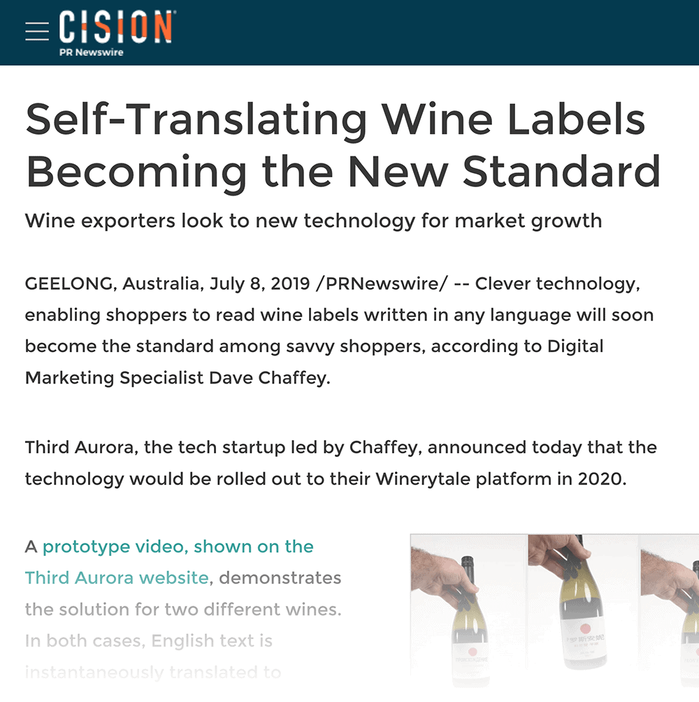 """Self translating wine labels"" press release"