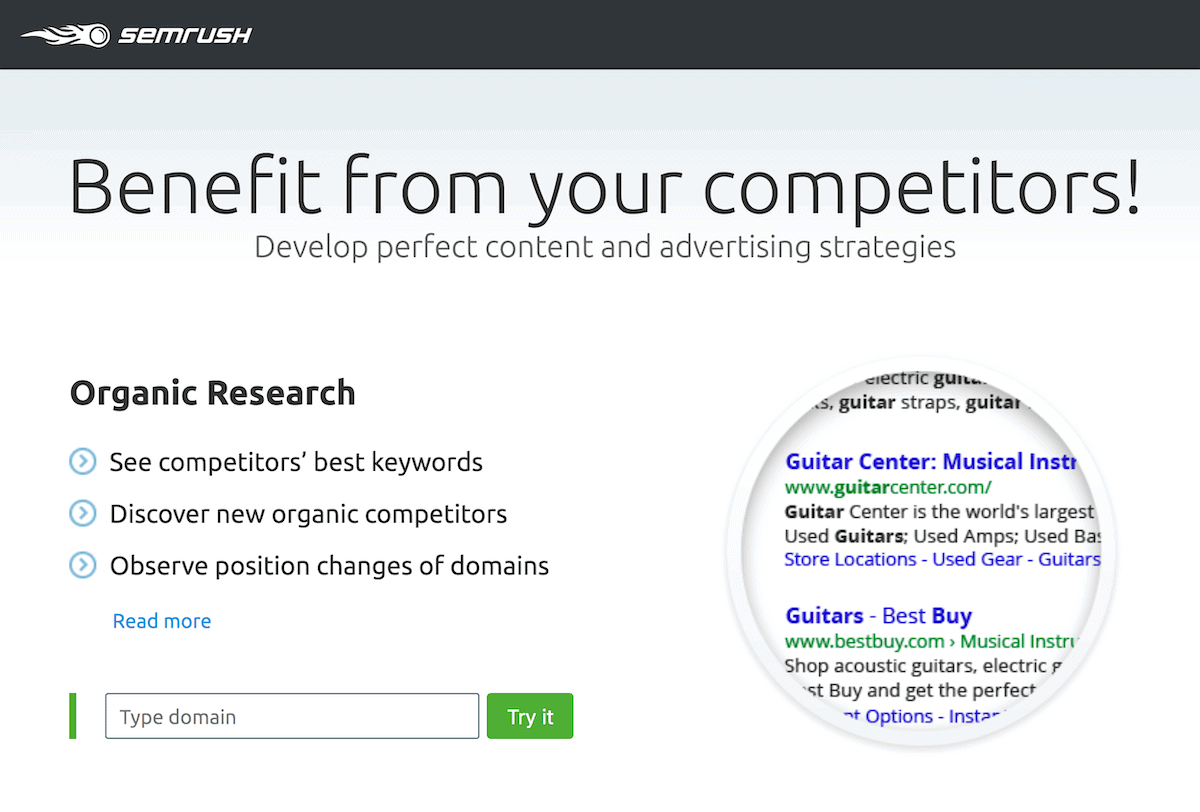 SEMrush – Benefit from competitors