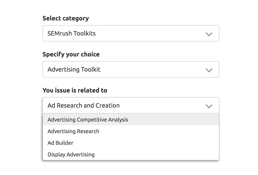 SEMrush – Contact form details