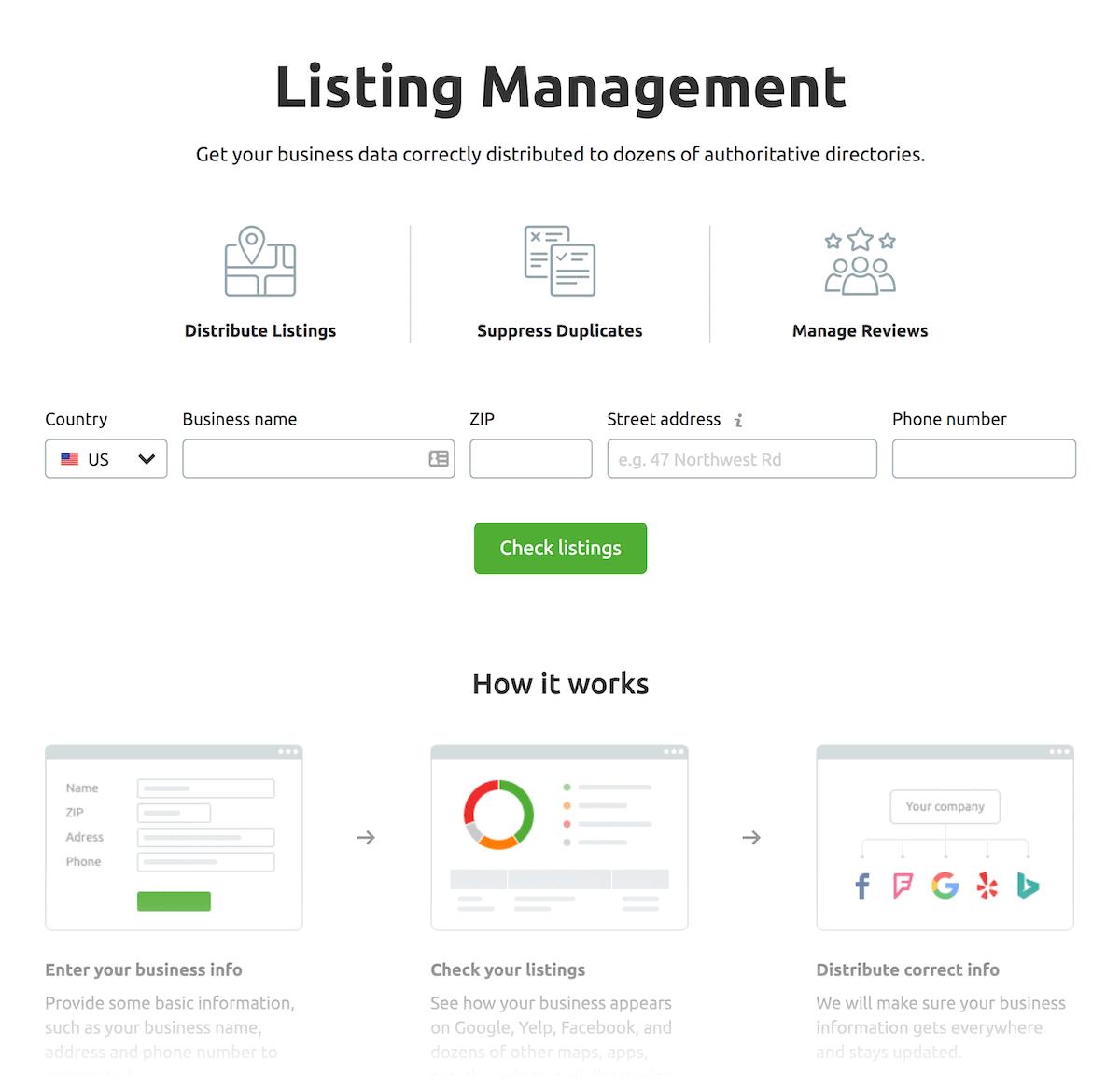 SEMrush – Listing management