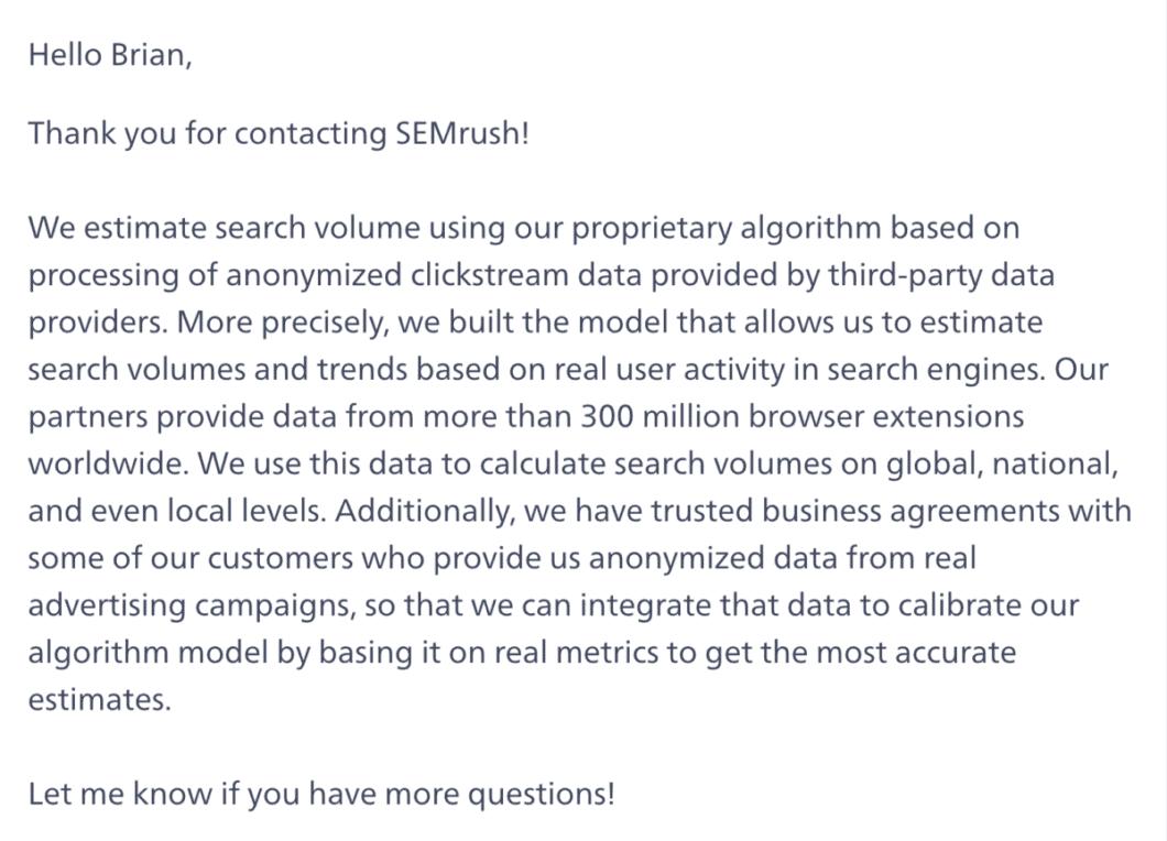 SEMrush support – Reply