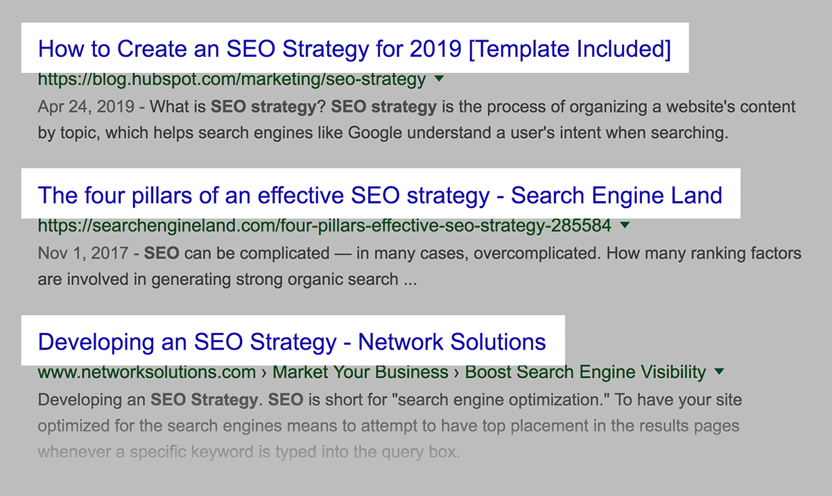 """""""SEO Strategy"""" high-level approach results"""