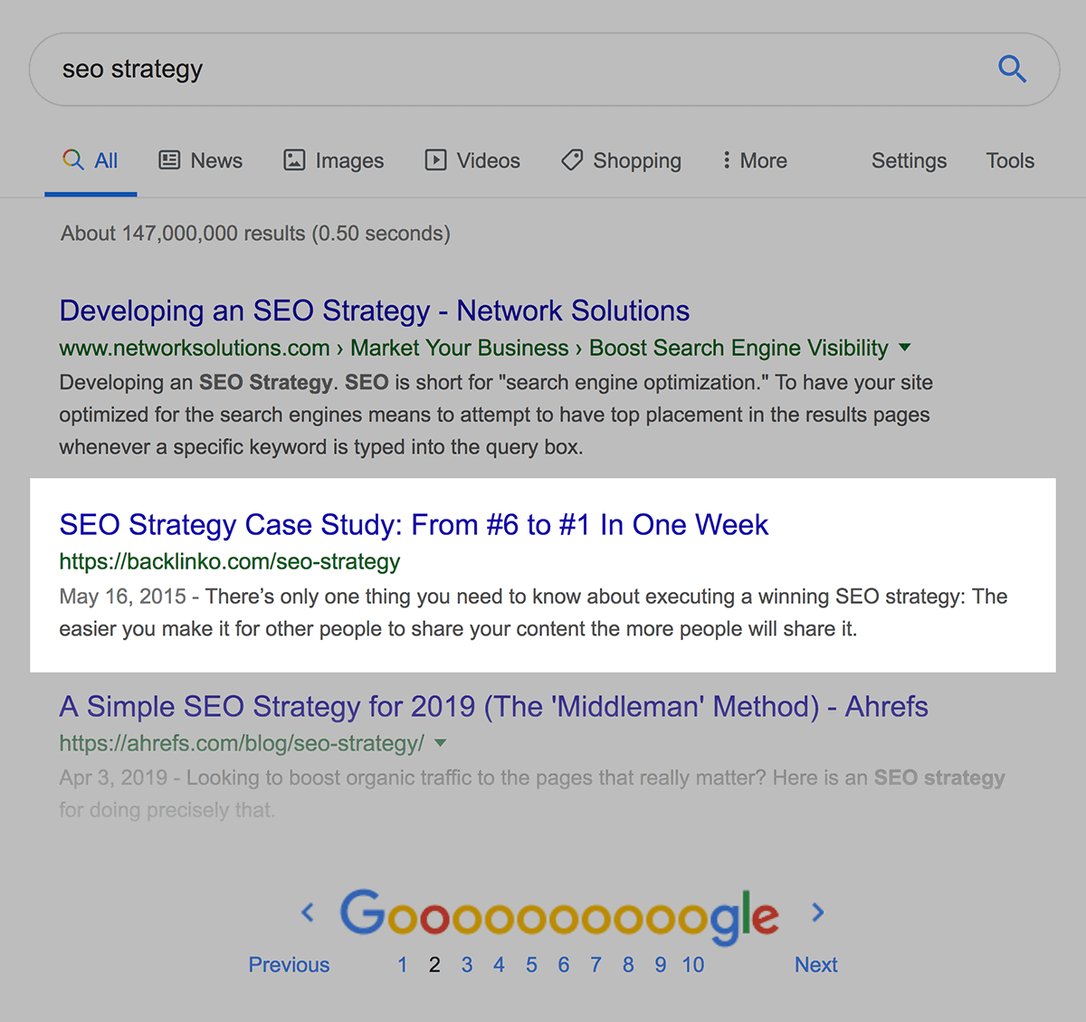 """""""seo strategy"""" page two ranking"""