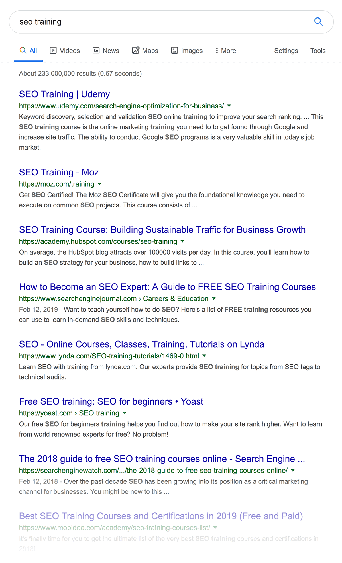 """""""seo training"""" search results"""