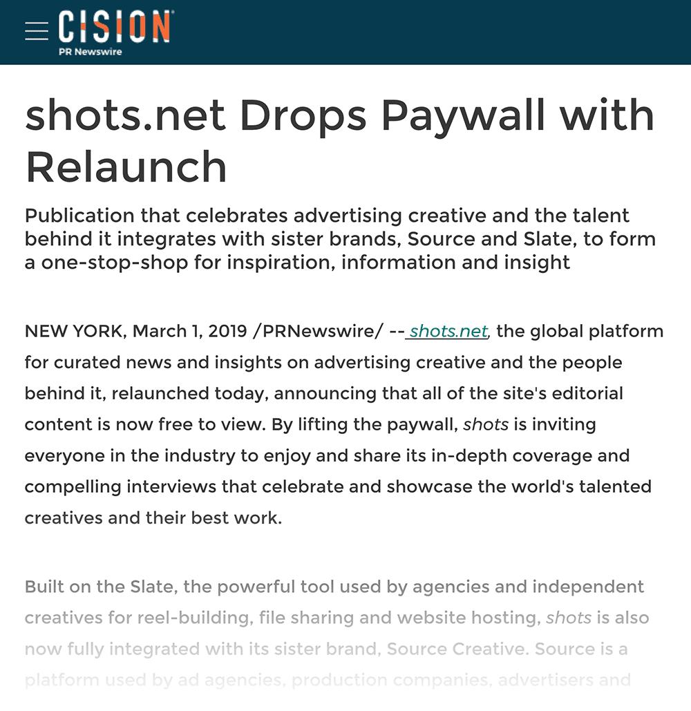 """Shots.net drops paywall"" press release"