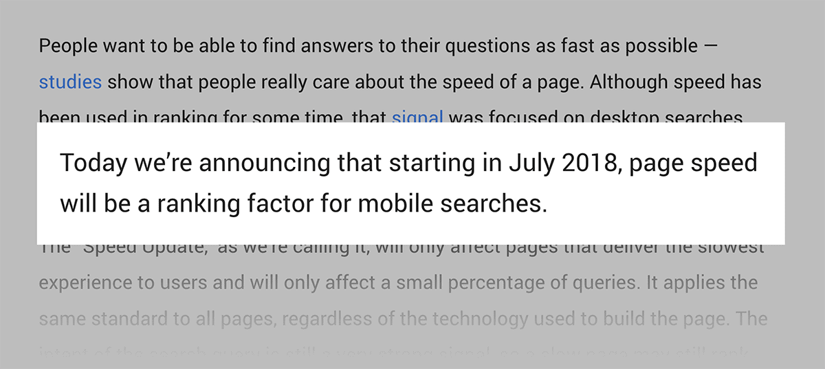 Site speed is a Google ranking factor