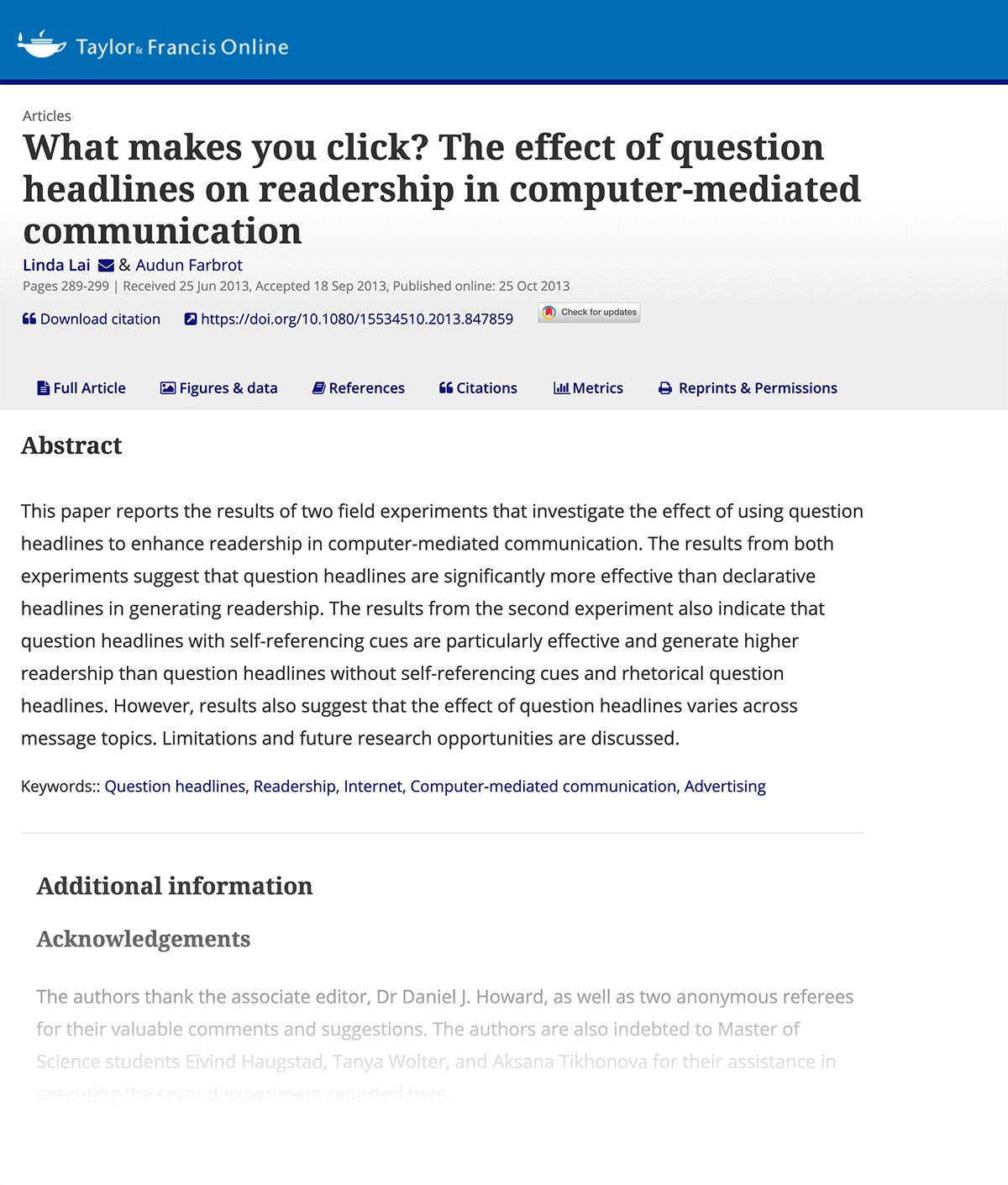 Social influence headline CTR study