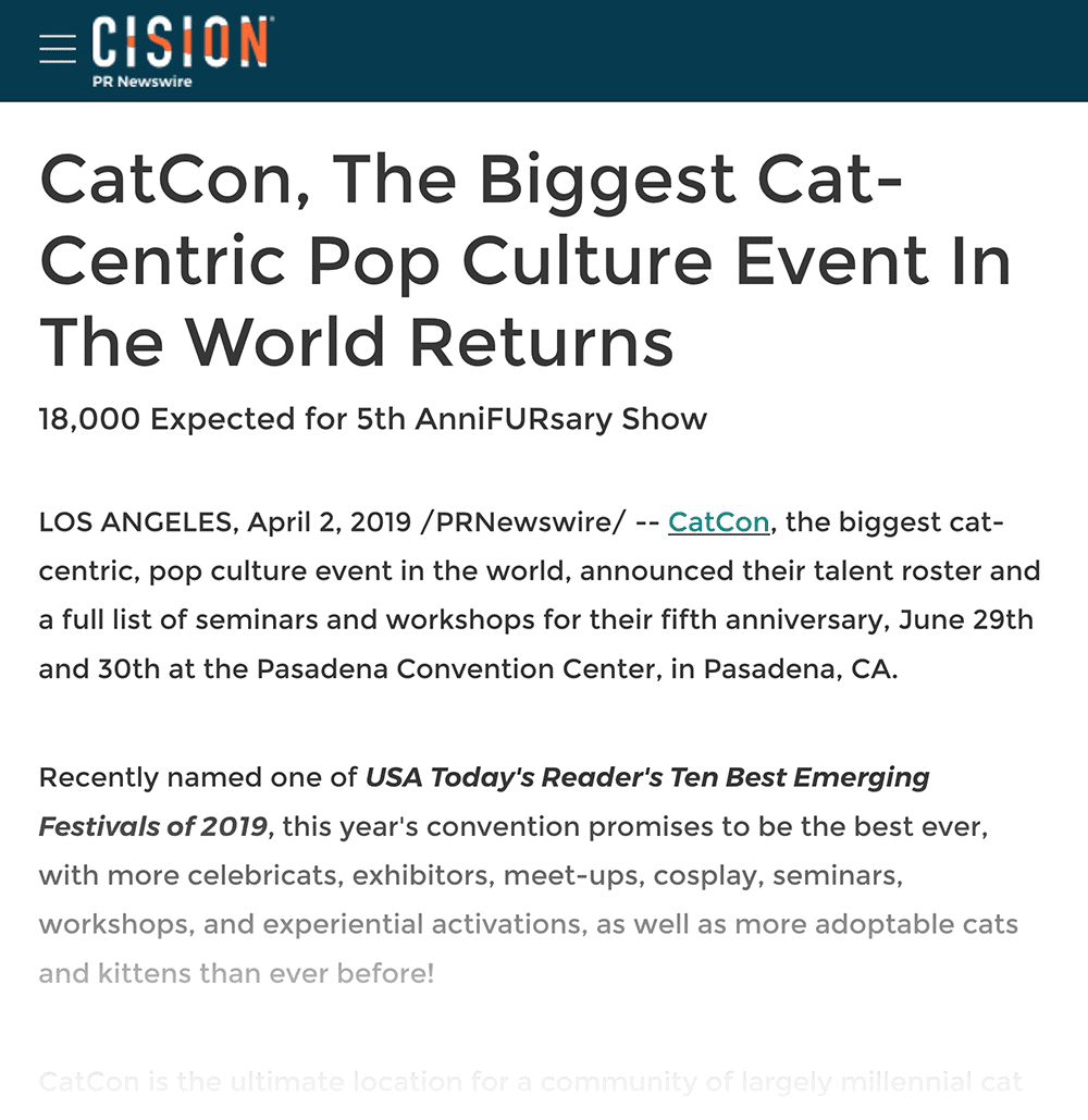 The biggest cat-centric culture event press release
