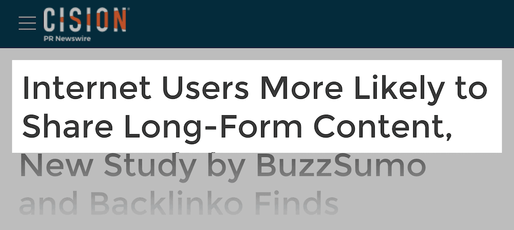 Users more likely to share long-form content
