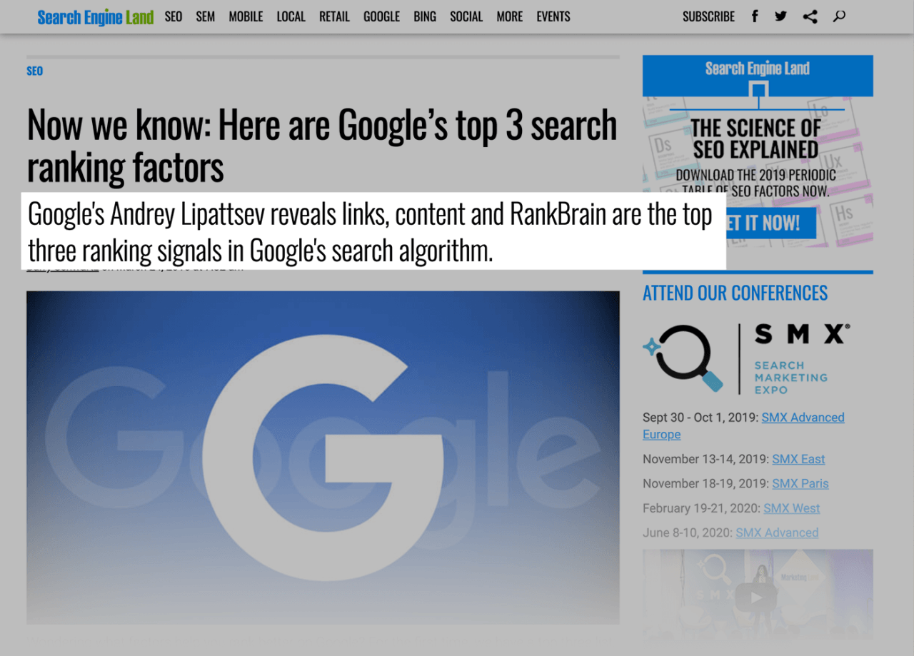 A Google engineer confirmed that RankBrain is one of Google's most important ranking factors