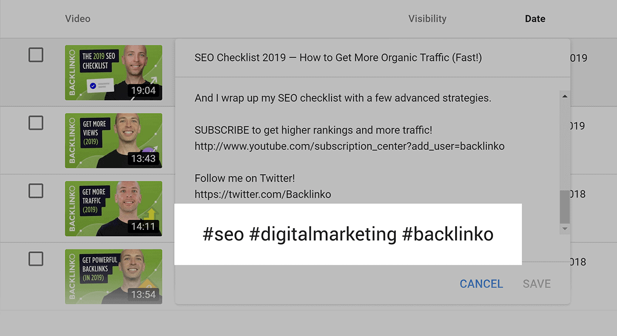 Add hashtags to video description