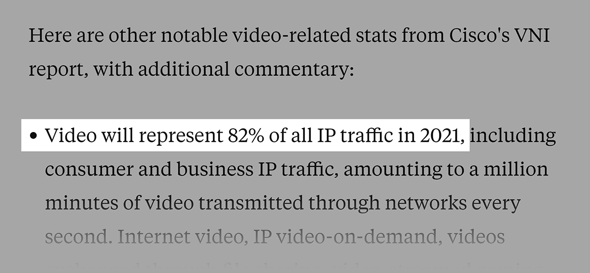 Business Insider article on How much IP traffic will be video by 2021