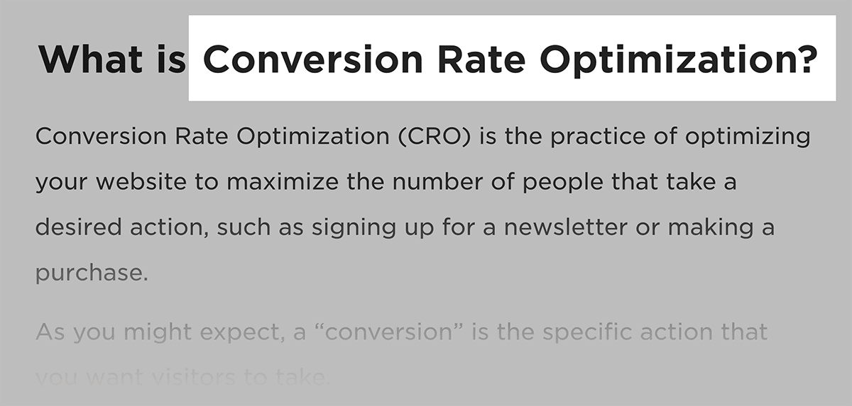 Conversion Rate Optimization – Keyword in H2