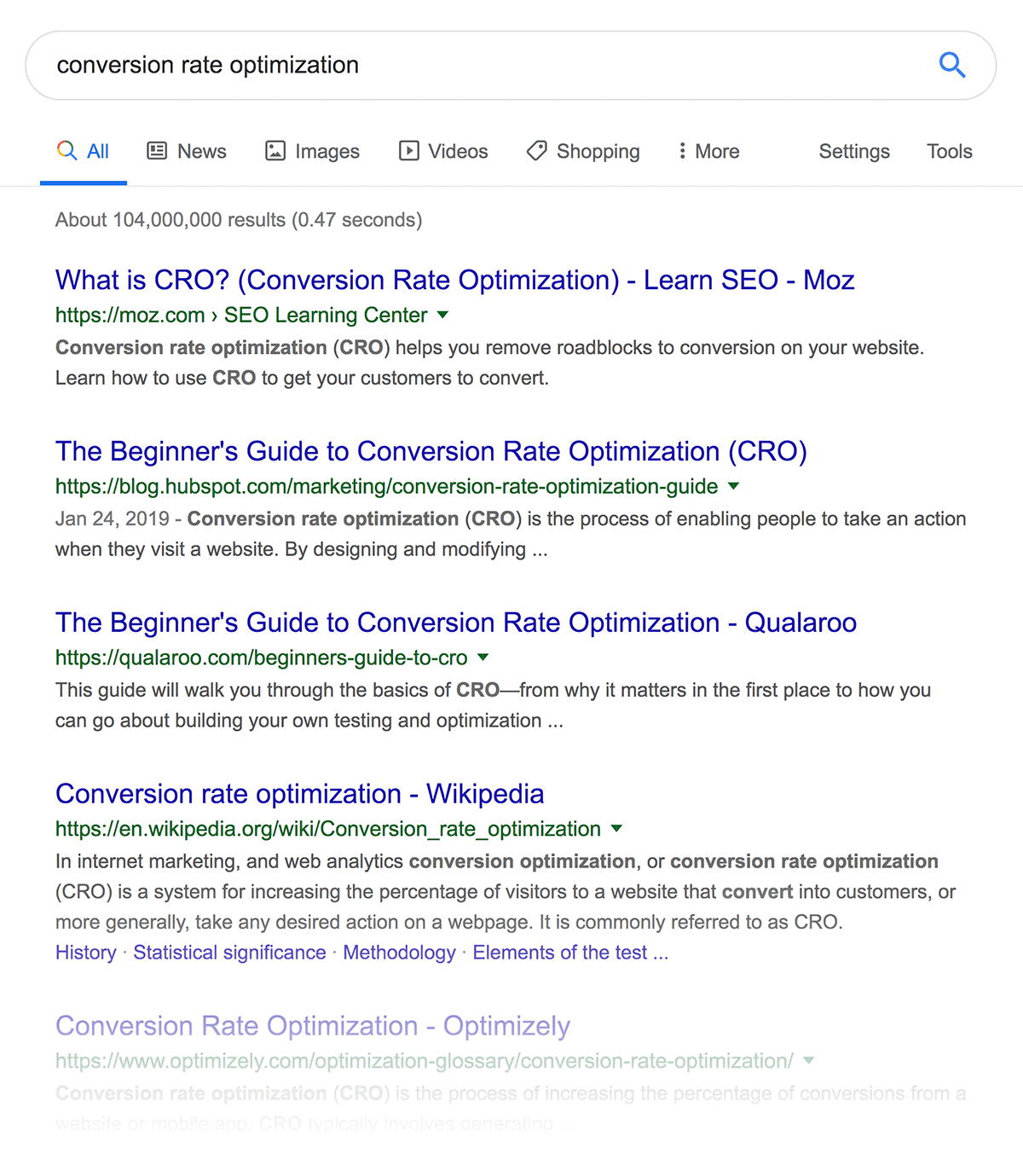"""conversion rate optimization"" SERPs"